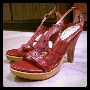 Red leather wooden platform heel sandal heels